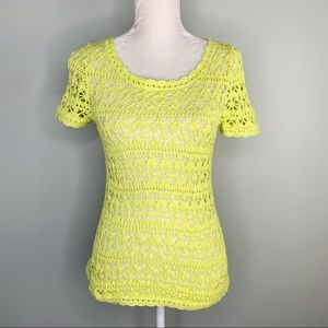 Vince Camuto Sweater Crochet Small Chartreuse SS